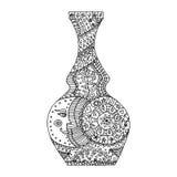Enredo del zen del florero, garabato del zen Tatoo de Vaze, coloreando stock de ilustración