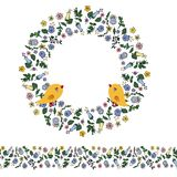 Enredo floral con las flores del contorno, los pájaros y la frontera inconsútil en fondo transparente ilustración del vector