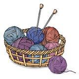 Enredos de diversos colores con el hilado para hacer punto en una cesta de mimbre Ejemplo colorido del vector en estilo del bosqu Fotos de archivo