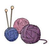 Enredos de diversos colores de las lanas para las agujas que hacen punto y que hacen punto Ejemplo colorido del vector en estilo  Foto de archivo