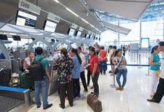 Enregistrement à l'aéroport de Bangkok Photos libres de droits