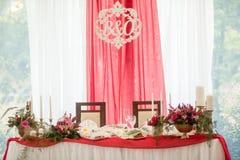 Enregistrement de décor de mariage des tables Images stock