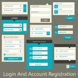 Enregistrement de login et de compte d'interface utilisateurs Image stock