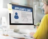 Enregistrement des informations sur les données d'identification d'adhésion de carte du ` s de demandeur photos libres de droits