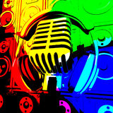 Enregistrement ou Entertainme de Mic And Speakers Shows Music d'écouteurs Images stock
