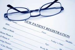 Enregistrement patient Images libres de droits