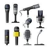 Enregistreur, microphone et dictaphone pour des journalistes Illustrations de vecteur dans le style de bande dessinée Photo stock