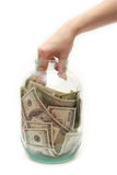 Enregistrez l'argent au côté Photo stock