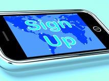 Enregistrez-vous l'inscription en ligne mobile d'expositions d'écran Image libre de droits