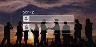 Enregistrez-vous le concept de sécurité d'intimité de mot de passe d'enregistrement image libre de droits