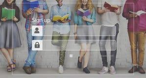 Enregistrez-vous le concept de sécurité de réseau d'Access d'adhésion d'identifiez-vous image stock
