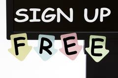 Enregistrez-vous le concept gratuit images stock