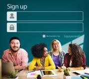 Enregistrez-vous le profil de compte de s'inscrire joignent le concept image stock