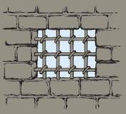 Enrejado antiguo de la prisión Gráfico del vector stock de ilustración