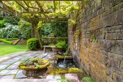 Enrejado de la glicinia de Lion Head Water Fountain Under del renacimiento Foto de archivo