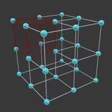 Enrejados cristalinos y células de unidad Imagenes de archivo