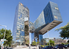 Enric Miralles Natural Gas Building Barcelona. The ultra modern glass window building from Enric Miralles with a distinctive architecture hosting the Natural Gas Stock Photo