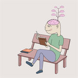 Enrich brain by reading book Stock Image