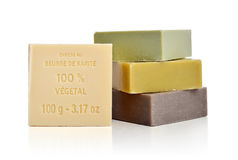 Enriched with Shea Butter 100% vegetal soaps Royalty Free Stock Images