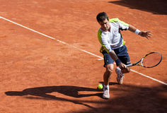 Enrico Burzi playing at ATP Genoa Open Royalty Free Stock Photos