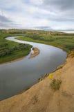 Enrolamento do rio de leite através da pradaria Foto de Stock Royalty Free
