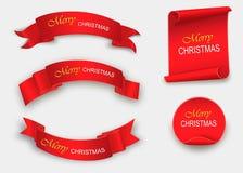 Enrole o vermelho, Feliz Natal, bandeiras realísticas, de papel Ilustração do vetor Fotos de Stock