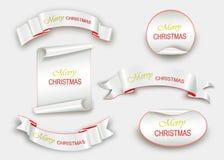 Enrole o vermelho, Feliz Natal, bandeiras realísticas, de papel Ilustração do vetor Fotos de Stock Royalty Free