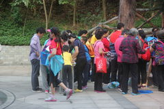 Enroll in climbing the mountain competition lovers in SHENZHEN Stock Image