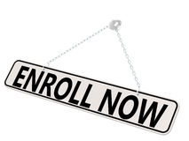 Enroll now banner isolated on white Royalty Free Stock Photos
