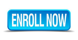 Enroll now blue 3d realistic square button Stock Images