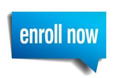 Enroll now blue paper speech bubble. Enroll now blue 3d realistic paper speech bubble Royalty Free Stock Photos