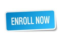 Enroll now blue square sticker Stock Photo