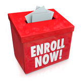 Enroll Now Enrollment Campaign Drive Entry Box. Enroll Now words on a red box collecting applications, enrollment, submission or entry forms for a campaign or Stock Image