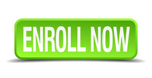 Enroll now green 3d realistic square Stock Photo