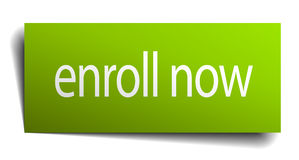 Enroll now green paper sign Royalty Free Stock Image