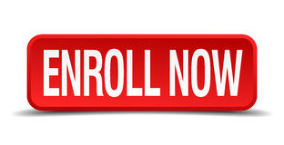 Enroll now red 3d square button Royalty Free Stock Photography