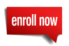 Enroll now red paper speech bubble Stock Images