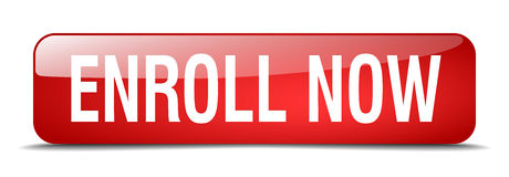 Enroll now red square isolated web button Stock Image