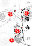 Enrollamientos con las flores rojas brillantes ilustración del vector