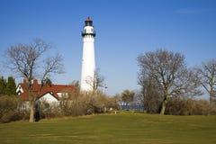 Enrolle el faro de la punta - Racine, Wisconsin fotos de archivo