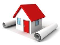 Plan de papel de la voluta y casa del sueño Foto de archivo libre de regalías