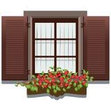 Enrolle la ventana de madera Fotos de archivo