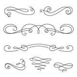 Enrolle los elementos, sistema de ilustraciones caligráficas del vintage ilustración del vector