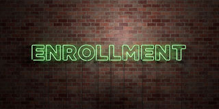 ENROLLMENT - fluorescent Neon tube Sign on brickwork - Front view - 3D rendered royalty free stock picture Royalty Free Stock Photos