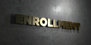 Enrollment - Gold text on black background - 3D rendered royalty free stock picture. This image can be used for an online website banner ad or a print postcard Stock Images