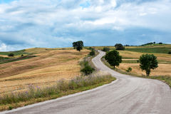 Enroulement de route goudronnée par des collines Images libres de droits
