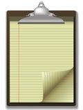 Enroulement jaune de page de papier de coin de tampon de planchette illustration de vecteur