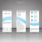 Enroulez le stand de drapeau Vecteur Conception d'insecte de brochure d'affaires Insecte de brochure d'affaires Couleur bleue Photographie stock libre de droits