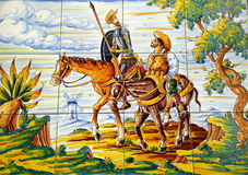 Enroute de Don Quijote Sancha Panza foto de archivo libre de regalías