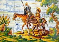 Enroute de Don Quixote Sancha Panza Foto de Stock Royalty Free